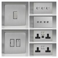 Varilight Screwless Brushed Steel DSB Light Switch Socket Dimmer Toggle Cooker