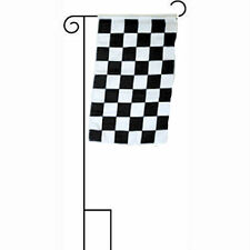 """12x18 12""""x18"""" Black and White Checkered Race Sleeved w/ Garden Stand Flag"""