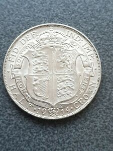 1914 George V Half-crown silver .925 coin  with Excellent Details