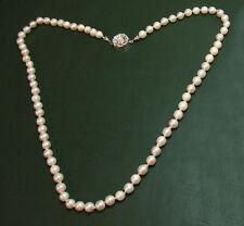 Schöne alte PERLENKETTE m. großer 333er Gold-Schließe • 50 cm • Akoya-Perlen