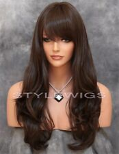 Medium Brown Long Layered Wavy Heat Safe Full Synthetic Wig Hairpiece SAKR 6