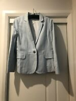 Trenery Pale Blue Linen/cotton Blazer Size 14