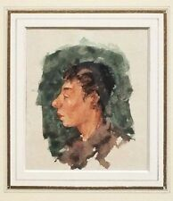 Original Jack Levine (NY, MA  1915-2010) Watercolor Painting Head of Boy