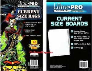 20 x Ultra Pro Comic Series - CURRENT Size Comic Bags & Backing Board Bundle