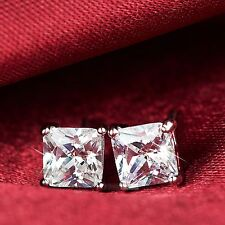 18k white gold gp made with swarovski crystal princess cut square stud earrings