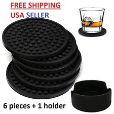Coasters For Drinks, Set of 6 Silicone Coasters With Holder, Large & Small Size