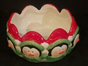 ROYAL NORFOLK PENGUIN CHRISTMAS CANDY DISH DECORATIVE CHRISTMAS BOWL SCALLOPED