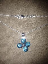"""S80 Silver Flower Pendant w/  Light Blue Crystals 22"""" Ball Necklace Valentines"""