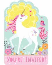 MAGICAL UNICORN PARTY INVITATIONS BIRTHDAY GIRLS FANTASY INVITE ENVELOPE 8PK