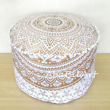 "22"" New Indian Pouf Ottoman White Golden Printed Mandala Foot Stool Covers Throw"