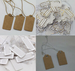 100Pcs Hot Merchandise Label Price Tags Elastic Pre-Strung White Kraft Paper
