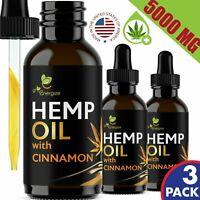 3 PACK Cinnamon Hemp Oil Extract For Pain Relief Anxiety Sleep 5000 mg