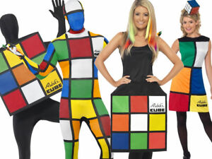 Rubiks Cube Costume 80s Adult Fancy Dress Outfit 1980s Mens Ladies Outfits New