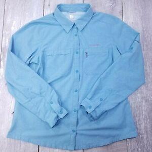 Columbia Titanium Irico Button Up Shirt Womens XL Blue Vented Long Sleeve LB25