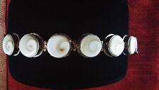 "Vintage 925 sterling silver ammonite shell bracelet.  8"""