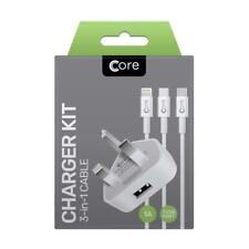 Core Single Charger Kit 3-in-1 White  Type-C / Lightning / Micro USB / 1M