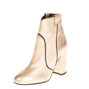 RRP€120 UNLACE Leather Ankle Boots EU36 UK3.5 US 6 Heel Metallic Made in Italy
