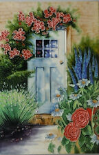 "Rose Flower Cottage Decorative Ceramic Picture Tile Kitchen 8x12"" Wall Art 05234"