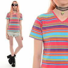 Vintage 90s Club Kid STRIPED Crop Top Grunge Raver Sporty Stretch Cyber Shirt S
