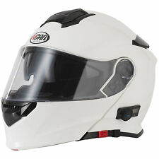 2016 VCAN V271 Blinc 5 Bluetooth Flip Front up Motorcycle Helmet FM Radio Gloss White XL