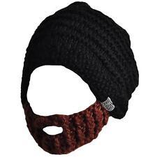 Beardo Original Foldaway Funny Beard Hat Winter Beanie Black Brown Knit Hats