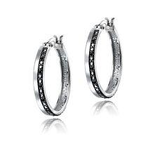 Silver Tone 1/4ct Black Diamond Hoop Earrings