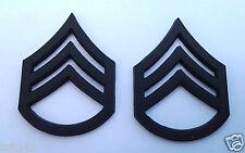 1 PAIR (2) US ARMY RANK E6 STAFF SGT Military Veteran Hat/Collar Pins P12753 EE