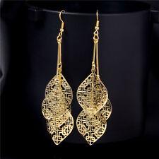 Long Dangle Earrings 18K Gold Plated Leaves Tassel Fashion Earrings Hook