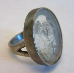 Erotic scene Roman Glass Cast into Sterling Silver mens ring