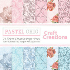 "Craft Creations 6""x6"" Scrapbook Paper - Pastel Chic - Roses Hearts Flowers"