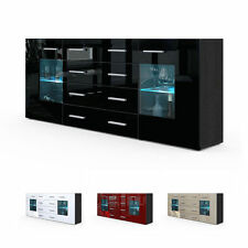 Black High Gloss Modern Sideboard Cupboard Unit Contemporary