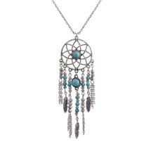 Dreamcatcher Pendant Necklace, Imitation Turquoise Beaded, Boho Hippie Jewelry