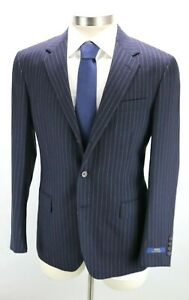 NWT $1498 POLO RALPH LAUREN Mens Wool Suit 44 R Navy White Stripe Three Button