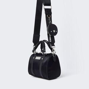RIVER ISLAND Black RI Nylon Mini Bowler Crossbody Bag - NEW (RRP £32)