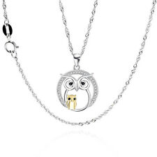 925 Sterling Silver Pendant Necklace Owl Crystal Chain Women Jewelry Charm