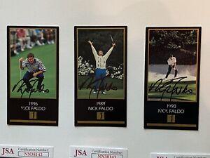 Nick Faldo Grand Slam BLACK CARDS 1996, 1989, 1990 JSA COA RARE!!! Set of 3