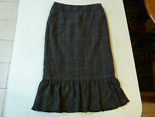 Women's CUE Size 6 AU 100% Wool Skirt Brown Checks Knee Length Work Office Lined