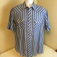 Wrangler Mens Western Shirt Pearl Snap Blue White Striped Short Sleeve 17 Tall