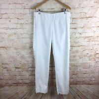 J Jill Womens Essential Cotton Stretch White Pants Size 14 Tall w/ Pockets