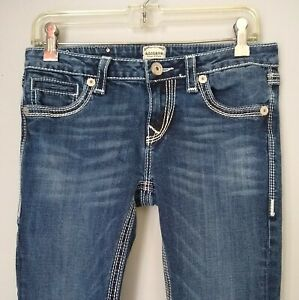 Anoname Women Jeans Size 28 Joelle Boot Blue Denim Whiskered