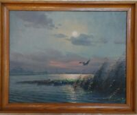 "G. Van De Velde (Dutch *1929) OIL ON CANVAS ""Mallard Flying Over An Estuary"""