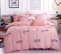 Heart Pattern Pink Bedding Set Duvet Cover+Sheet+Pillow Case Four-Piece New