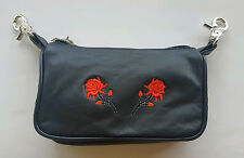 Genuine Leather Belt Bag - Hip Clip Purse - Red Roses - Motorcycle Riders
