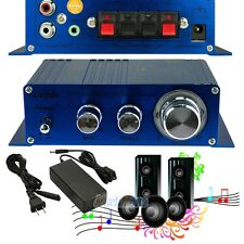 Mini 2CH Hi-Fi Stereo Amplifier Booster DVD MP3 Speaker for Car Home w/ Adapter