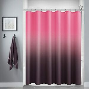 Pink Purple Textured Ombre Gradient Boho Fabric Shower Curtain with Hooks