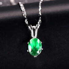 5mmx7mm Oval Zirconia Pendant Necklace White Gold Filled Green Emerald CZ Gift