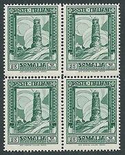 1935-38 SOMALIA PITTORICA 25 CENT QUARTINA D. 14 MNH ** - K186