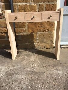 H85 W85 D22cm BESPOKE UNTREATED CONSOLE HALL TELEPHONE TABLE 3 DRAWER CHUNKY