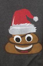 Poop emoji christmas shirt mens XL womens santa hat new gray adult tshirt H3
