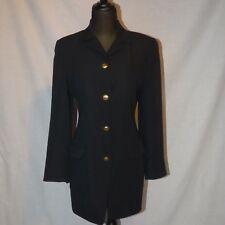 6accdd7c2 AUTHENTIC GUCCI WOMEN'S BLACK WOOL COAT STRAIGHT CLASSIC 4 BUTTON ABOVE  KNEE 38